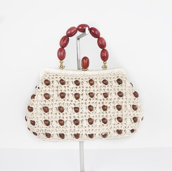 Vintage Handbags - Vtg CARINA Italy Raffia Beaded Handbag 1960's